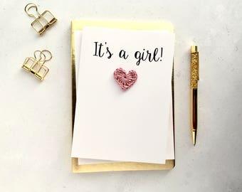 It's a girl card - New baby girl card - Newborn card - White card