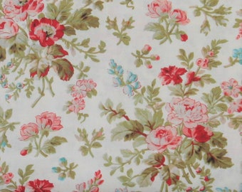 Red, Pink and Teal Flowers on Soft White 100% Cotton Quilt Fabric, Aubrey by Whistler Studios for Windham Fabrics, Shabby Chic, WIF42647-1