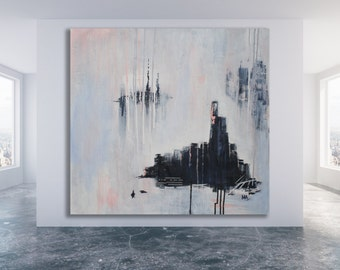 XL Abstract Cityscape Painting / City Scape Art / Abstract Painting / Contemporary Art / Modern Art / Texture Painting /