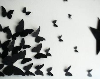3D Wall Art Black Butterflies Set of 100
