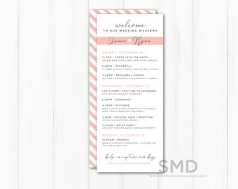 Wedding Itinerary, Modern Wedding Timeline, Order of Events, Schedule of Events, Guest Timeline, Welcome Kit, Icons, PRINTABLE or PRINTED