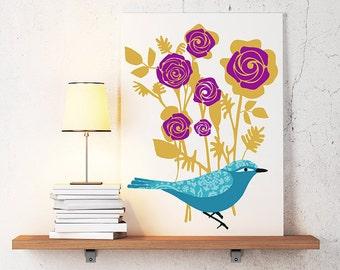 Roses Flower Mustard Mint Blue Kitchen /Baby Nusery Vintage / Modern Inspired Digital Art Print Illustration Bird with flowers-Custom color
