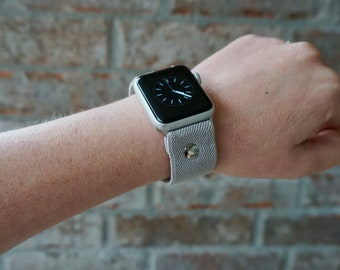Gray Stretch Elastic Apple Watch Band Strap for iWatch, Adapter 38mm/42mm