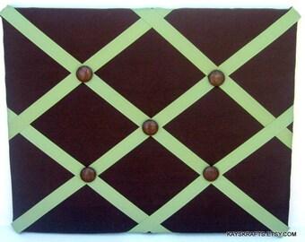 Brown Memory Board French Memo Board, Fabric Ribbon Memo Bulletin Board, Ribbon Pin Board, Fabric Message Board, Bedroom Decor