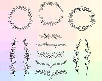 Floral SVG Files, Floral Cricut, Floral Clipart, Floral DIY Files, Wreath SVG, Branches Svg, Laurel Wreath Cricut, Wreath Dxf, Floral Dxf