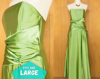 Vintage Jessica McClintock Leaf Green Strapless Long Prom Dress Evening Gown Formal Party Dress ~ Size 12 ~ Large