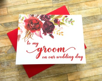 To my Groom on Our Wedding Day Card - Wedding Card from Bride for Groom - To my Husband - Red Watercolor- Wedding Day Card - SANGRIA