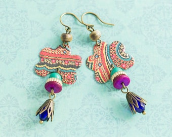 Colorful Bohemian Scalloped Vintage Tin Earrings with Reclaimed Beads, Boho Chic Dangle Earrings, Vintage Tin Jewelry