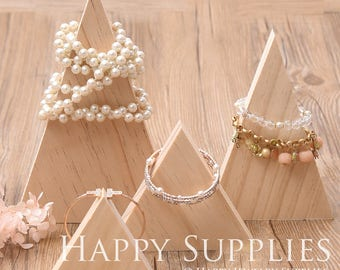 1pc Natural Wood Triangle Shape Necklace Bracelet Bangle Display Holder /Necklace Bracket, Jewelry Display Cabinets/Jewelry Supplies (DH020)