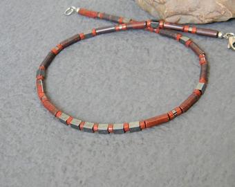 Brecciated Jasper Necklace, Mens Industrial Necklace, Mens Beaded Necklace, Womens Jasper Necklace, Native, Tribal Necklace