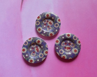 Set of 3 buttons 25mm red and blue Palm