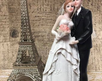 Bride and Groom with Eiffel Tower Cake Topper Decoration Centerpiece 2 Piece
