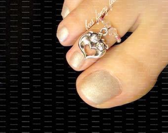 Pig Toe Ring, Pig Ring, Pig Charm Bead, Piglet Toe Ring, Piglet Ring, Pink Crystals, Silver Beads, Toe Ring, Ring, Stretch Bead Toe Ring