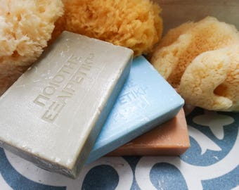 Soothing Greek Aloe Olive Oil Soap with Soft Sea Sponge