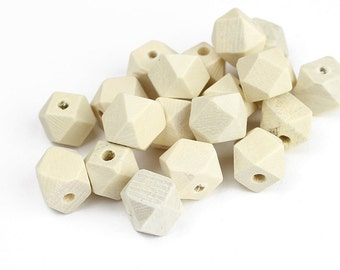 Small Faceted Wood Beads - 12mm x 12mm Polyhedron Beads - 20 Pieces