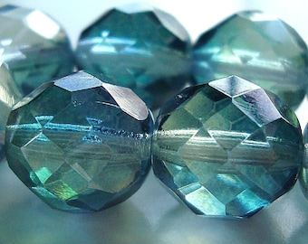 Czech Glass Beads 12mm Faceted 2 Tone Aqua Green Rounds - 8 Pieces