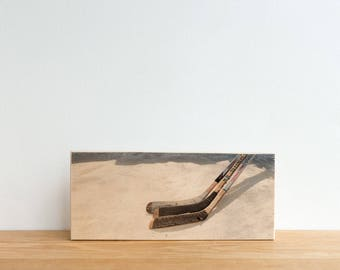 Hockey Photography, Photo Art Block, Image Transfer on Wood, 'Stick Handling' by Patrick Lajoie, pond shinny, ice hockey, hockey stick