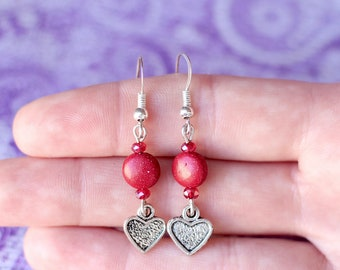 Heart Earrings, Valentine's Day Earrings, Red Crystal Earrings, Red Stone Earrings, Gifts for Women, Gift for Mom, Valentine Gift, Red Glass