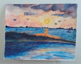 ORIGINAL Landscape Watercolor/ Seascape with Peninsula