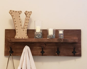 Rustic Wood Shelf with Hooks