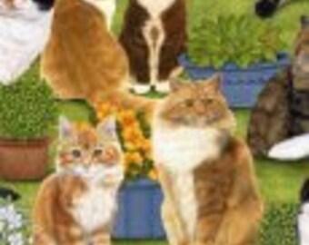 FELINE FINE 1890-721 Cats in Yard-green