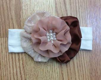 Peach and brown headband