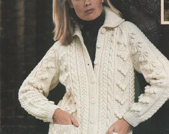 ba8651fc0 Instant PDF Download Vintage Row by Row Knitting Pattern Ladies Aran  Inspired Chunky Cardigan Jacket Top Cables   Bobble Cluster Bust 40-50