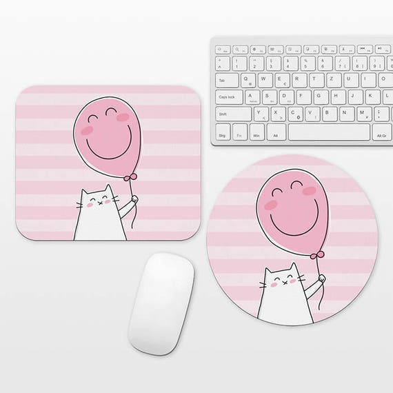 Happy Cat Mouse Pad Balloon Pink Mouse Pad Cat Mousepad Round Cute Mousepad Cute Mouse Pad Fun Mouse Pad Pink Desk Decor Striped Mouse Pad