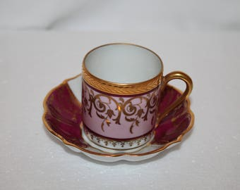 A5 Limoges France Demitasse Teacup and Saucer Pink Burgundy Gold Porcelain Made In France 1945 Castel Crown
