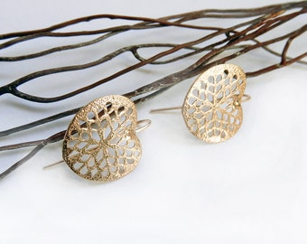 Champagne gold print earrings in brass