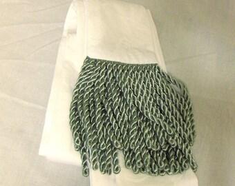 X-Long Brocade Sash, Tie Belt, Pirate Sash in White Rose-Print w/Light Green Fringe for Renaissance Cosplay, Fantasy Costumes