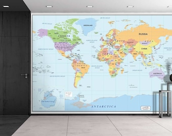 World map wall mural etsy 2016 newest world map wall mural removable wallpaper home decor 100x144 gumiabroncs Choice Image