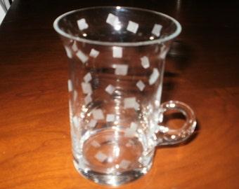 4 Etched Cappuccino Mugs...Confetti Design...Dishwasher Safe
