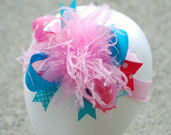 boutique PINK and TURQUOISE over the top hair bow with headband