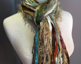 Fringie Scarf, Modern Camo 2, Knotted handmade Scarf, sage tan taupe fringe scarf, boho fashion, accessories, yarn scarf,  tribal artwear