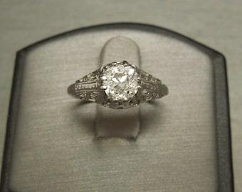 Antique Estate C1910 18K White Gold Filigree 1 carat F G I1 Old European cut Diamond Solitaire Engagement Ring Sz 5.75