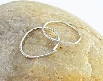 Argentium Silver Sleeper Hoop Earrings, Small Hammered Hoops, 20 Gauge Silver Hoops, Recycled Silver Earrings, Karyn Hayden Designs