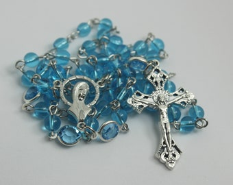 Aqua Catholic Rosary, Confirmation Gift, Baptism Gift, First Communion Gift, Gifts for Him, Gifts for Her, Catholic Gift