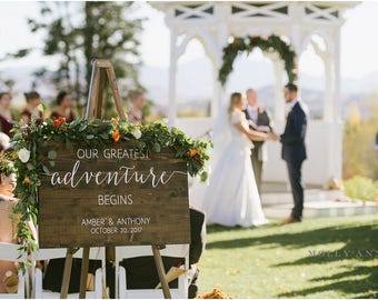 Our Greatest Adventure Begins, Adventure Themed Wedding Sign, Travel Themed Wedding Decor, Rustic Wedding Decor - Sophia collection