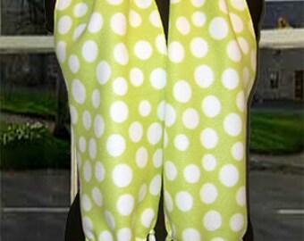 White Polka Dot on Lime Fleece Scarf, Muffler, Bufanda