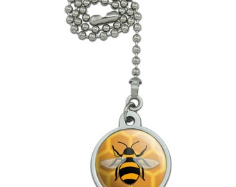 Bee on honeycomb ceiling fan and light pull chain