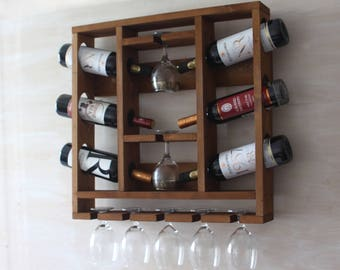Wine rack | Wooden wine rack | Hanging wine glass rack | Rustic wine rack | Wine decor | Wine glass holder|Wine rack wall|Kitchen wine decor