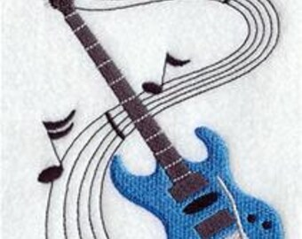 Guitar with music notes EMBROIDERED Pair of 15 x 25 inch hand towels for kitchen