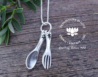 Cutlery Necklace Sterling Silver Spoon Necklace Fork necklace Cutlery jewelry Fork Spoon jewelry Chef necklace Cook necklace Food charm Fork