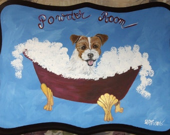 Jack Russell Terrier Dog Custom Painted Powder Room Sign Plaque Home decor wall decor