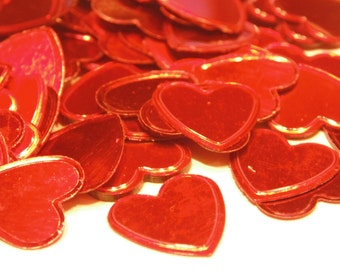 25 large red heart confetti, 15-16 mm (12)