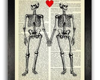 Scheletro amore arte stampa, antico libro pagina arte gotica, Poster di amore, amore cuore regalo di anniversario, presente per la ragazza, arte regalo di nozze