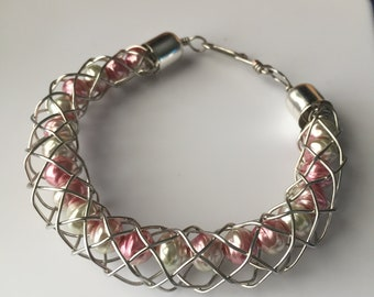 Kumihimo Open Braid Bracelet with Glass Beads