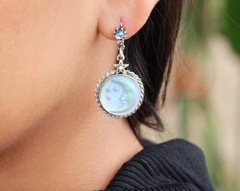 Moon Earrings, Moon and Star Earrings, Silver Moon Earrings, Silver Moon Jewelry, Star Earrings, Star Jewelry, Crescent Moon Earrings E1258