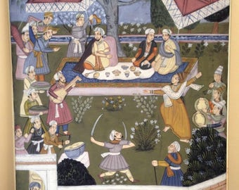 "LARGE Vintage INDIA PAINTING Framed Signed Folk Art 44x32"""